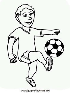 A free coloring page of a boy playing soccer. Sports coloring picture.