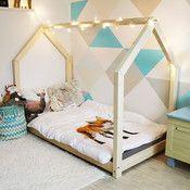 Drewniane łóżko jednoosobowe w kształcie domku TERY 120x200 cm + 20 cm nóżki