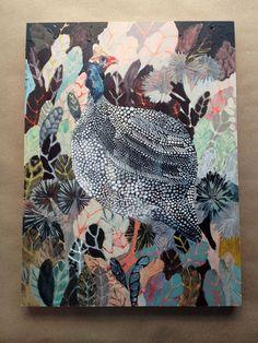 Guinea fowl and Vegetation - Original painting via Etsy