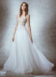 Zuhair Murad V-Neck A-Line Gown in Chiffon | KleinfeldBridal.com
