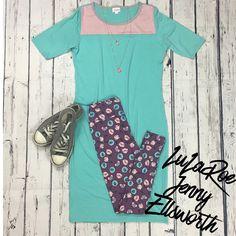 Join LuLaRoe Jenny Ellsworth's shopping group for more outfit inspiration! LuLaRoe Julia Dress and Leggings.