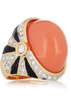 Kenneth Jay Lane | 22-karat gold-plated resin and crystal ring | NET-A-PORTER.COM