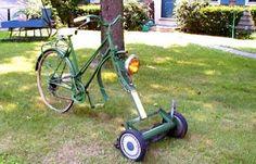 the lawnmower on the bike