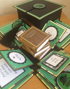 Graduation exploding box card with 3D piled books centrepiece Www.facebook.com/be4utifullyunique