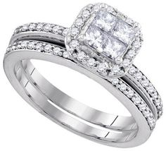 14KT White Gold 0.76CTW DIAMOND INVISIBLE BRIDAL SET: Rings