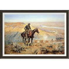 Global Gallery 'The Wagon Boss' by Charles M. Russell Framed Painting Print Size: