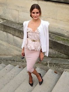 Olivia Palermo - love this outfit, pale ppink pencil skirt and white cardi  - inspiration via blossomgraphicdesign.com #boutiquedesign