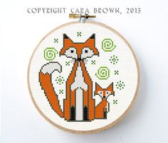 cute fox material | Fox Cross Stitch Pattern PDF Digital Instant Download Needlepoint ...