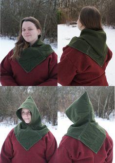 Hand sewn viking age woolen hood. Made by Henrik Nordholm.  https://www.facebook.com/pages/Henrik-Nordholm/254634504677319
