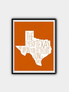 Texas Longhorns Printable Eyes Of Texas by JustPeachyPrintables
