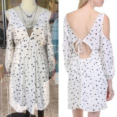 💠💠The DANDELION BREEZE cold shoulder dress-WHITE 🎉️HPx2🎉Darling dandelion seed print ️DRESS with back tie. 100% polyester.   ‼️️️NO ️TRADE, PRICE FIRM‼️ striped Bellanblue Dresses