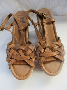 34770da154f5 Lucky Brand Women s Brown Faux Leather Wedge  Sandals Size 7.5 M  fashion   clothing