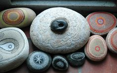 All you have to do is pause and let them appear. You'll know when you see one, because it will set off a small burst of feeling inside you. ~Fiona Robyn http://redroom.com/member/fiona-robyn/blog/how-to-pay-attention    pic: Jos van Wunnik, found stone,painted
