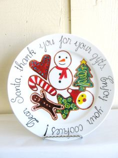 Cookies for Santa Plate - Christmas hand painted plate - Decorative Christmas plate - Thank you message to Santa plate from Limitless Lettering on Etsy