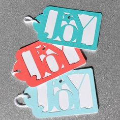 Christmas is around the corner - give a little Joy! 3 gift tags per pack. You choose the colours to match your wrapping papers. www.heartstringinvitations.com.au