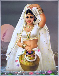 Raja Ravi Varma Paintings: A Nair Woman Adorns Herself Indian Art Paintings: Indian Women Doing Makeup Indian Art Painting. Indian Artwork, Indian Art Paintings, Bollywood Stars, Raja Ravi Varma, Decoupage, India Art, Tantra, Woman Painting, Sexy Painting