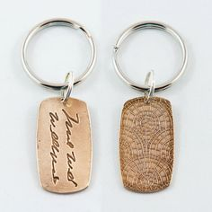 Put a loved ones signature or short message in their own writing on a BRONZE pendant attached to a keychain. If you would like a pendant on a necklace simply add just the pendant to your cart and add a necklace from the listing link options at the bottom of this page discription. I would be happy to create one for you! It looks amazing on a black leather necklace. This pendant can fit up to about 5 or 6 words. It is one sided but I can do a double sided pendant for you if you like for extra…
