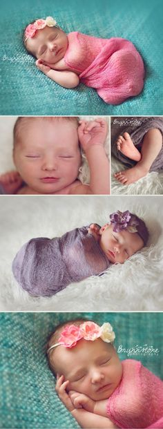 Newborn Girl Photographylove the material for the swaddle and the floral headbands.