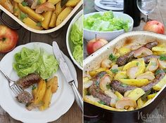 pečené klobásy s feniklom, zemiakmi a jablkami