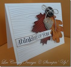 beautiful fall card - embossed wood grain, die cut leaves, sparkle acorn accent - from Lee at stampingleeyours.com #StampinUp