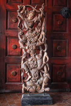 Hand-carved Teak Wood Relief Panel. Inspired from 'Ramakien' Thailand Story of the Ramayana Epic. Perfect for any collector of Eastern art by SiamSawadee, $164.99
