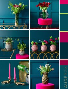 Hot pink and teal colour palette inspiration. Colour scheme ideas for your home. Teal Rooms, Teal Living Rooms, Teal Color Schemes, Living Room Color Schemes, Interior Colour Schemes, Hallway Colour Schemes, Colorful Kitchen Decor, Colorful Decor, Colorful Interior Design