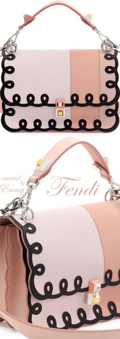 Brilliant Luxury♦Fendi Candy Colours Spring 2017♦Flap Bag in Pink-Black