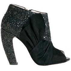 Miu Miu Glitter & Suede Bow Ankle Boots - Size 10 / 40