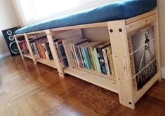 A #diy window seat with storage made from shelving units from #randofo