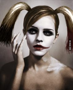 Emma Watson as Harley Quinn..... I DIDN'T REALIZE HOW PERFECT THAT WOULD BE UNTIL JUST THIS MOMENT.....
