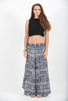 """Amazingly Soft Wide Leg Palazzo Style Harem Pants with elastic back waistband. Cotton/Rayon Blend. Free International Shipping on Orders over $60 at HaremPants.com Measurement: - Waist: 24"""" - 38"""" (Max"""