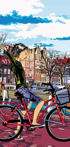 , the only problem is that my bike is black. Illustrations, Illustration Art, Yves Montand, Tricycle Bike, Bike Poster, Bicycle Art, Kids Bike, Cycling Art, Land Art