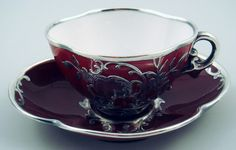 Antique Sarreguemines French Silver Overlay Demitasse Cup Saucer
