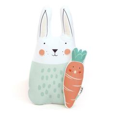 Bunny and carrot soft toy Little Ones, Carrots, Bunny, Delicate, Pillows, Christmas Ornaments, Toys, Holiday Decor, Prints