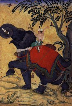 Mughal Emperor Akbar training an elephant