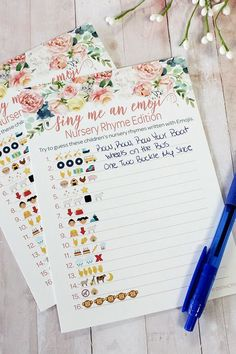 Pink Floral Baby Shower Nursery Rhyme Emoji Game Guess the nursery rhyme song ti. - - Pink Floral Baby Shower Nursery Rhyme Emoji Game Guess the nursery rhyme song titles written with emojis. Tally answers on the right of each player ca. Baby Shower Floral, Fiesta Baby Shower, Baby Shower Fun, Baby Shower Parties, Baby Girl Shower Themes, Best Baby Shower Games, Baby Shower Ideas On A Budget, Girl Baby Showers, Baby Shower Party Favors
