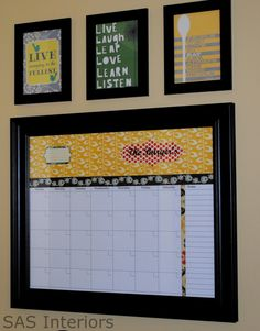 """Love this """"Command Center"""" for the kitchen! I would do the big calendar, then a menu planner and one mail holder underneath! Damask print of course! (desk organization diy calender)"""