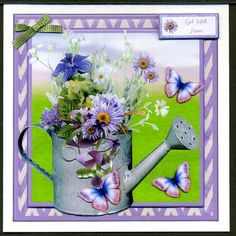 Beautiful Floral Watering Can Butterflies Mini Kit on Craftsuprint designed by Toni Martin - made by Katie  Silver - I printed the sheets onto A5 size matte photo paper, cut out the pieces , mounted the main image onto a 14.5cm.sq. card and the insert inside using DSST. I added the layers and the Get Well Soon using sticky pads. Other captions could be Thinking of You, On Mother's Day, You're So Special, Happy Retirement, A New Home, Happy Birthday or Congratulations. Just let me know…