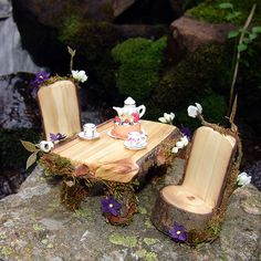 ♧ Charming Fairy Cottages ♧ garden faerie gnome & elf houses & miniature furniture - Miniature Fairy Table and Chairs