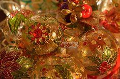 Hand painted christmas glass balls