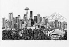 seattle skyline art drawing - Google Search