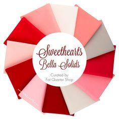 Sweethearts Bella Solids Fat Quarter Bundle Curated by Fat Quarter Shop - Basics   Fat Quarter Shop