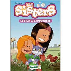 """Les sisters , Tome 4 Le chat à bandoullière Christophe Cazenove : """"Les Sisters en roman jeunesse, c'est aussi nikol crème ! En rentrant de l'école, un discret miaulement attire l'attention de Wendy et Marine. Un petit chaton, visiblement abandonné et affamé, s'abrite derrière une poubelle. Pour une fois, nos Sisters sont d'accord : il faut le prendre, le nourrir et s'en occuper"""". [Source : Fnac.com]"""