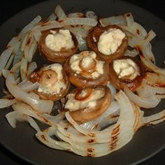 Blue Cheese Stuffed Mushrooms with Grilled Onions - Allrecipes.com
