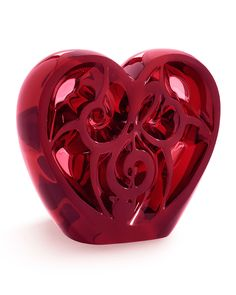 "Lalique ""Music is Love"" Red Heart Sculpture"