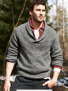 Shawl Collar and Layers Blue / Grey / Red