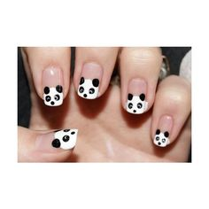 Panda Nails Kawaii Nail Art ❤ liked on Polyvore