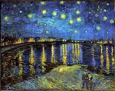 I wanted to work from a painting by Van Gogh (The starry night . - I wanted to work from a painting by Van Gogh (The starry night on the Rhône) which I particularly - Art Van, Van Gogh Art, Vincent Van Gogh, Gogh The Starry Night, Art History Memes, Van Gogh Paintings, Art Plastique, Night Skies, Canvas Art