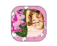 Unicorno rosa per il foto orologio in legno