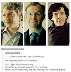 SHERLOCK - John Watson (Martin Freeman), Mycroft Holmes (Mark Gatiss) & Sherlock Holmes (Benedict Cumberbatch) - Tumblr